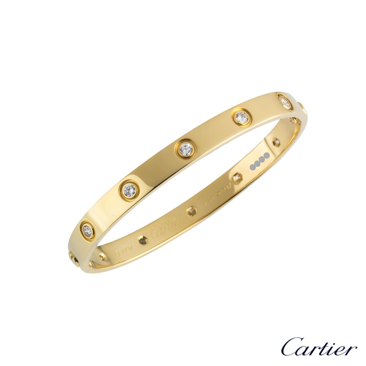 8f80e72242036 Cartier 18k Yellow Gold Full Diamond Love Bangle Size 17 B&P B6040617